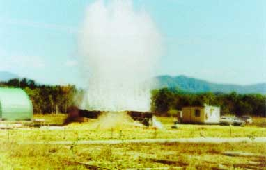Fig.14. Detonation of the explosion for high energy rate forming of the bow section [16]