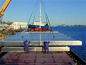 Fig.1. Marine Aluminium prefabricated FSW deck panels for 'The World' cruise ship
