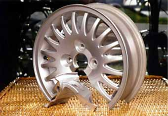 Fig. 13. Hydro Aluminium's light alloy car wheel, where the rim was friction stir welded to the hub [32] .