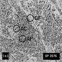 Fig.6. Representative microstructures, 8018-C1 weld metal: a) Low dilution, as-deposited