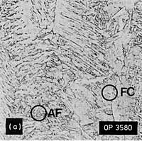 Fig.7. Representative microstructures, 7018 weld metal a) Low dilution, as-deposited