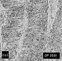 Fig.8. Representative microstructures; 1.6%Mn weld metal: a) Low dilution, as-deposited