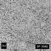Fig.9a and b representative HAZ microstructures from 'hard' HAZ K preparation weld. Note: M=martensite