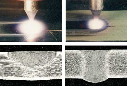 Fig.1. The characteristic appearances of the activated and conventional TIG arcs and the comparative depths of penetration in 6mm thick stainless steel (left: Conventional TIG welding, right: A-TIG welding)