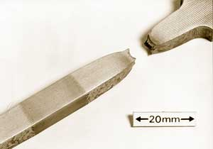 Fig. 7b FHPP-tensile test specimen of low carbon steel showing fracture away from the core and heat affected zone (HAZ)