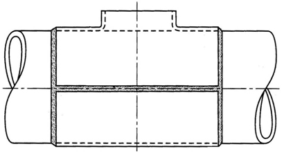 Figure 1 A split-tee (encirclement tee) in-service modification fitting, showing the positions of the welds.