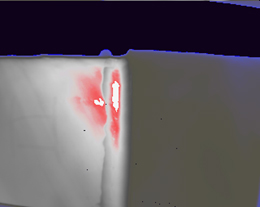 Figure 5: Thermal image of investigated pipe after 13.560 seconds of heating revealling kissing bond defect on the pipe