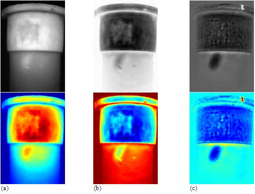 Figure 6: Defect 'A': (a) gray (top) and 'jet' (bottom) raw thermograms at t=0.92 s; (b) first time derivative image (from a 7th degree polynomial fitting) at t=2.85 s; (c) second derivative at t=1.49 s.