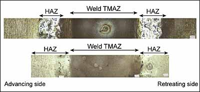 Fig.7. Photomacrograph of the top surface of a) Conventional friction stir weld; and b) Dual rotation friction stir weld