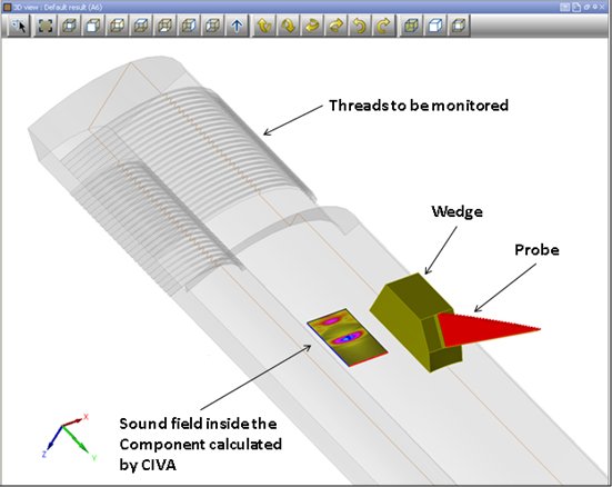 Figure 3 - Simulation of the inspection technique in CIVA in order to optimise both the 2D array probe and the Rexolite wedge