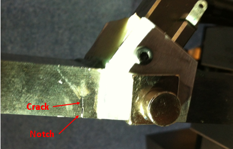 Figure 9 An image showing the starter notch and the growing fatigue crack.