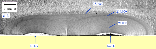 FIGURE: 8 – Example of asymmetric fatigue crack growth from adjacent coplanar surface flaws [14]