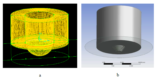 Figure 5: a) Details of mesh construction at the hemispherical tool's surface used in the present model. b) Tool profile used for the stainless steel experiments (Cater and Perrett, 2011).