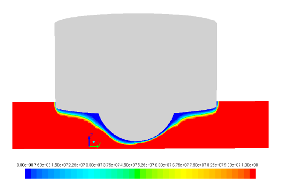 Figure 8: Contours showing steady state predictions of metal viscosity (Pa.s) for Weld 9 for a cross section (cross-welding direction).