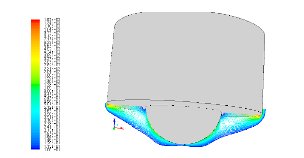 Figure 17: An isometric view showing contours of strain rate (s-1) for Weld 2.