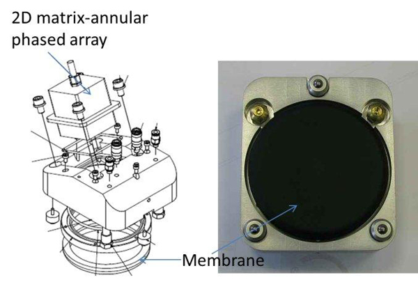 Figure 8. Schematic drawing showing the designed probe holder and an actual photo of the flexible membrane