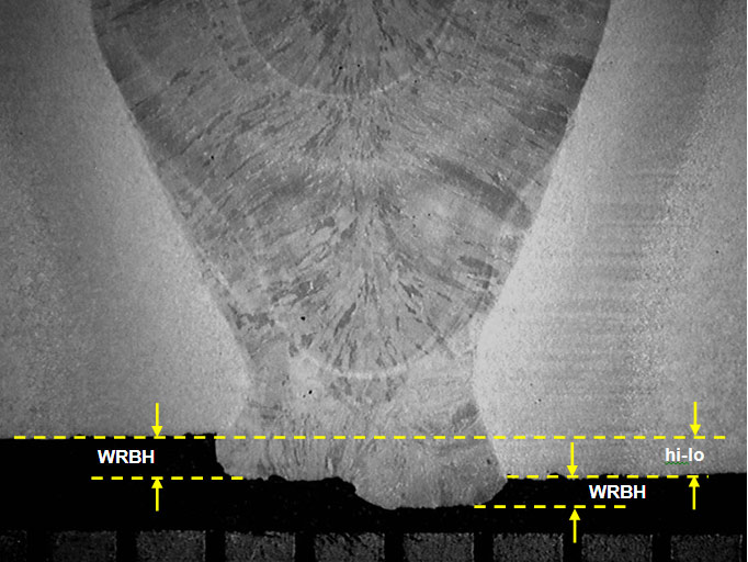 (b) Weld W2, with no evidence of cracking in the region of poorest profile (WRBH= 0.47mm). The definitions for hi-lo and WRBH are shown in the figure