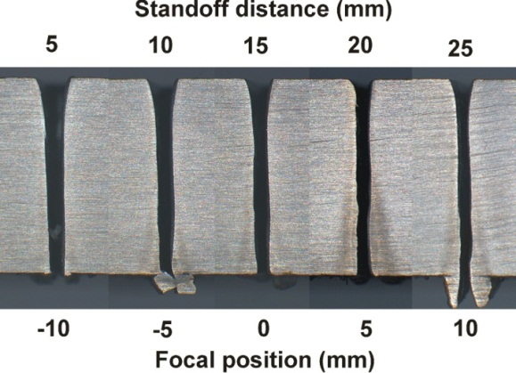Fig 3. Kerf cross-sections for 12mm thickness CMn steel (left) and 6mm CMn steel (right)