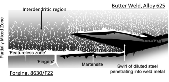 Figure 1 – Illustration of typical micro-scale regions at the 8630M-625 buttering interface (adapted from [6]).