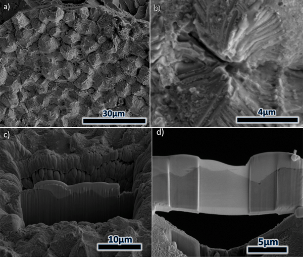 Figure 6 – 8630-625 specimen fracture surface: a) SEM image of 'flat' and grainy-like morphology, b) higher magnification image of a crater with central node, c) TEM wafer selection and d) thinned TEM wafer.