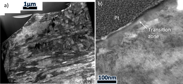 Figure 7 – a) TEM montage of the crater-like region and the sub-surface lath-like grains and b) a TEM image from a region directly below the fracture surface showing a transition zone next to a BCC grain.
