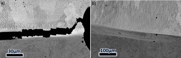 Figure 14 – SEM backscatter images of a retrieved 8630-Alloy 625 SENB specimen. The sample was sectioned and polished after testing. A) Cracking can be seen linking the notch-tip in the Alloy 625 weld metal to the buttering-LAS interface. B) Crack li