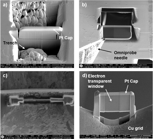 Figure 3 - a) Milled trenches allow the wafer to be released on three sides; b) extraction of the wafer using a micromanipulator and tungsten needle; c) ion beam image showing wafer thickness; d) SEM image of finished wafer.