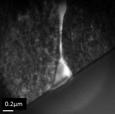 Figure 5 - TEM brightfield image of niobium carbide in an 8630M-625 dissimilar joint.