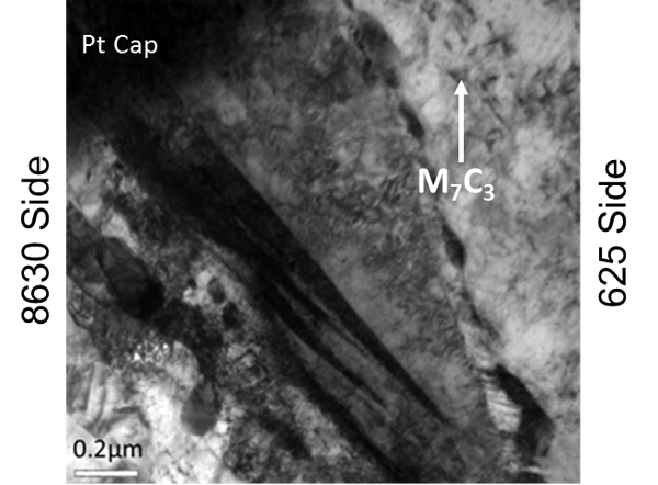 Figure 8 - TEM brightfield photomicrograph of the region at the top of TEM sample 1.