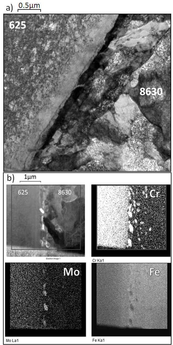 Figure 9 – a) TEM brightfield image and b) Lower magnification EDX elemental maps across the dissimilar interface in TEM specimen 3.
