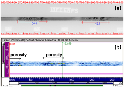 Figure 7 Radiographic and ultrasonic data showing the presence of porosity in specimen 01.