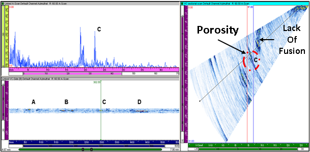 Figure 11 Data showing flawed regions containing porosity in specimen 01, along with a lack of side wall fusion in the hot pass.