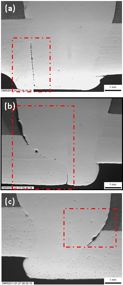 Figure 13 Micrographs of the section in specimen 04 at (a) 663mm, (b) 907mm and (c) 992mm from the datum, focused on the lack of root penetration flaw (highlighted).