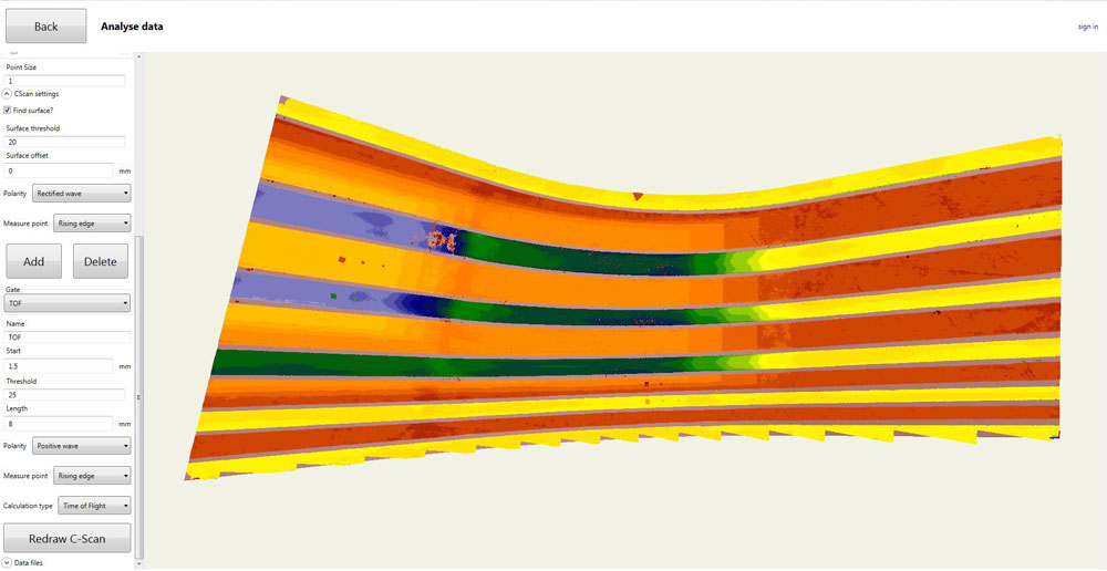 Figure 10. C-Scan of the main skin surface of the aerospace composite winglet.