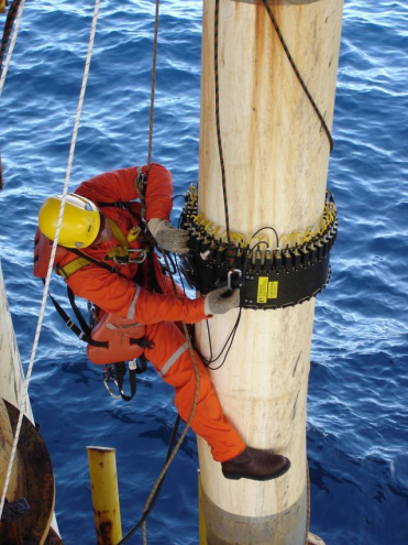 Fig. 9 b) Rope access deployment of the transducer tool