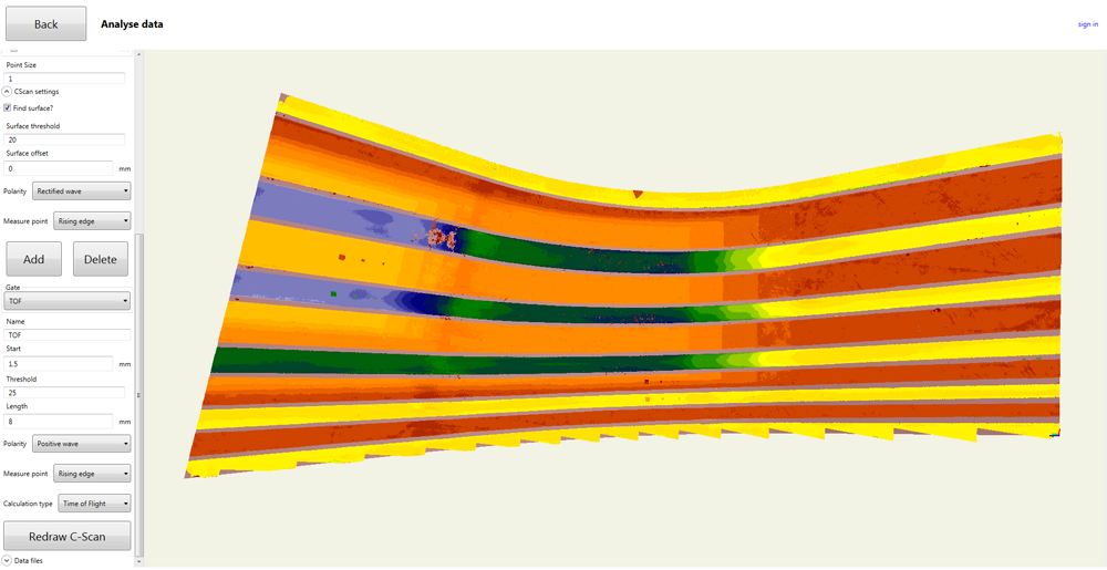 FIGURE 7. C-Scan of the main skin surface of the aerospace composite winglet.