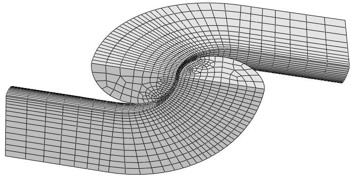 Figure 3 Geometry and mesh of the models analysed. The figure shows the 124mm (D) size chain links.