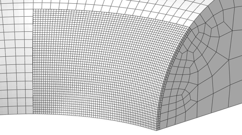 Figure 4 Views of the mesh of one chain link showing the refined mesh in the contact zone.