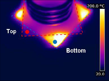 Figure 4. Thermal image after 60 seconds of heating.