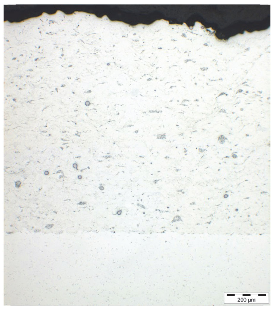 Figure 4: Example of microstructure of Al alloy laser assisted cold sprayed coating on Al alloy.