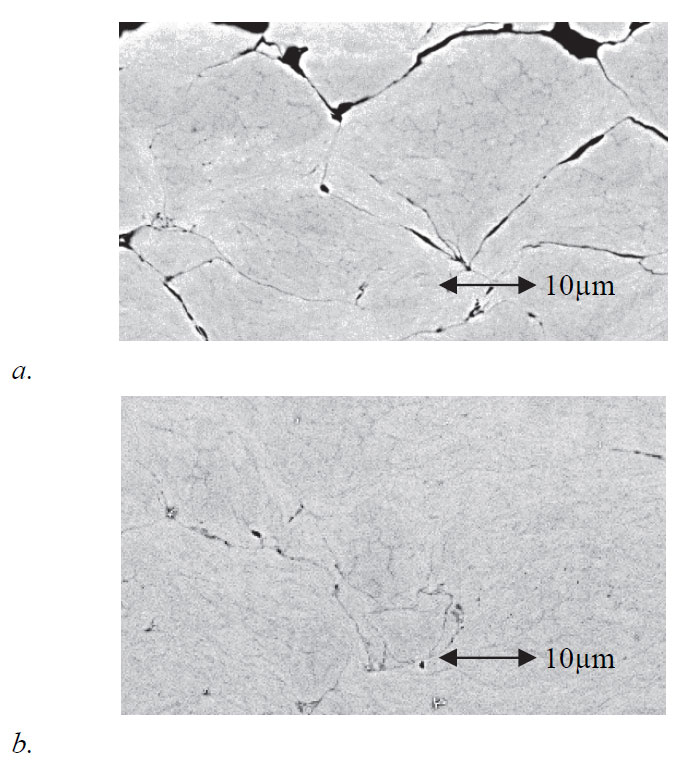 Figure 5: Example of microstructures of Ni alloy coatings (sprayed on to steel substrates: not shown): a. Without laser heating of the substrate. b. With laser heating.