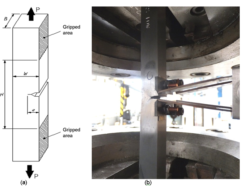 Figure 2 SENT test specimen with a BxB square section design (a), and an SENT test specimen instrumented with a double clip gauge, tested at room temperature to generate a CTOD and J R-curve (b).