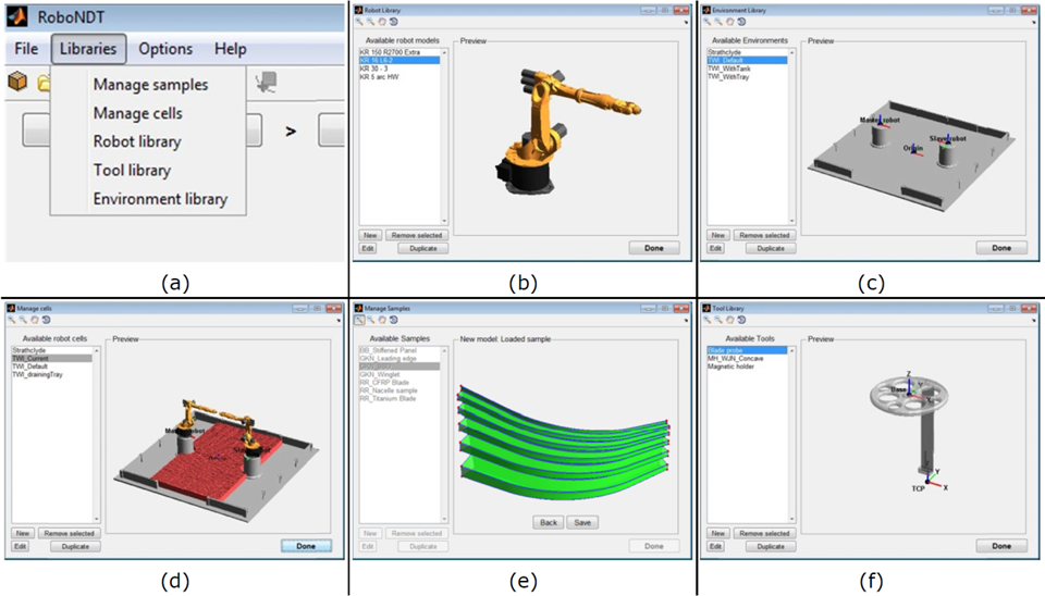 Figure 2 – Libraries menu (a), Robot library (b), Environment library (c), Cell management (d), Sample management (e) and Tool library (f).