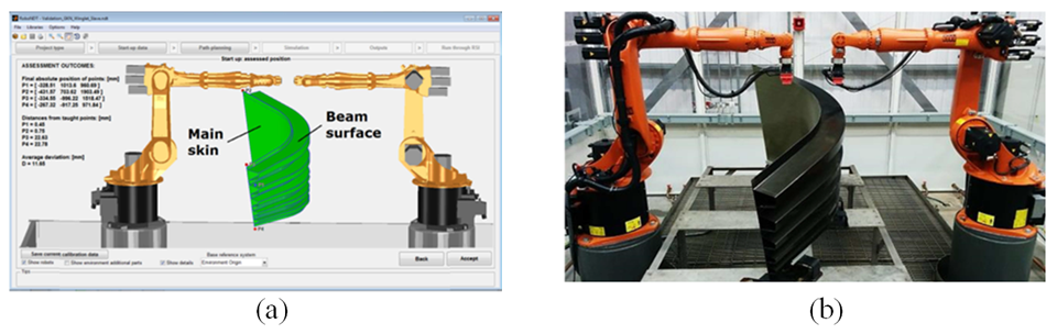 Figure 3 – Real setup (a) and sample model in the virtual robot environment (b).
