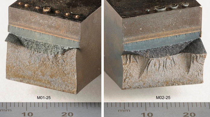 Figure 13 Examples of out of plane tearing in part of the crack front in upper-shelf SENT specimens from M01 and M02