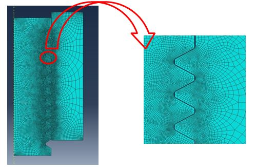 Fig. 9 Axisymmetric model of the threaded end of the SENT specimen and the tensile machine grip with FE mesh shown and zoomed view of the FE mesh in the contact region. Finer mesh on the side of the thread where the load is transferred