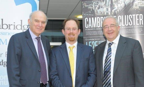 Vince Cable, Julian Huppert and David Cleevely