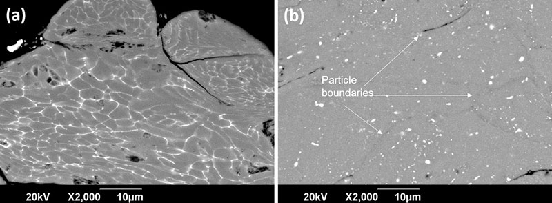 Fig. 12 Higher magnification of deformed particles into the coating of as-received (a) and solution heat-treated particles (b) illustrating the high deformation undergone by the particles during deposition