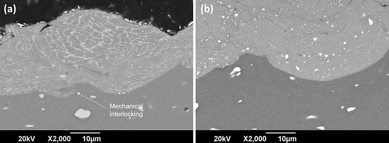 Fig. 13 BSE images of the bonding between the deposit and the substrate in both cases: As-received (a) and solution heat-treated (b) AA7075 powder. A mechanical interlocking is observed between the substrate and the coating