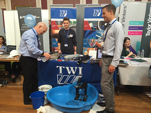 TWI's Ewen Kellar, Warren Bath and Alex Russell at the first Opportunities Ahead careers fair in Cambridge
